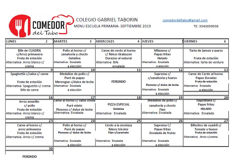 Colegio Gabriel Taborin - - COMEDOR MENÚ MENSUAL y DIETA 2019